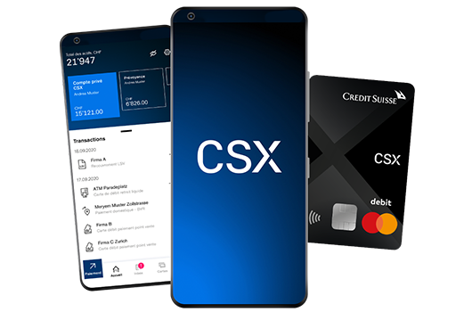 App and card CSX by Credit Suisse
